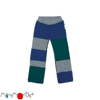 ManyMonths UNiQUE Woll Patchwork Hose - Sesquoia Green- Silver- Moonlight Blue - Charmer/Explorer